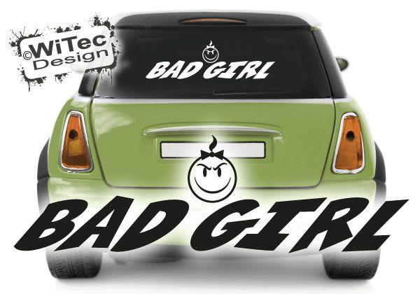 Autoaufkleber Smiley Bad Girl Heckscheibenaufkleber