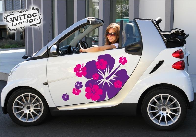 Autoaufkleber Hibiskus Blumen Aufkleber XL für Smart Twingo