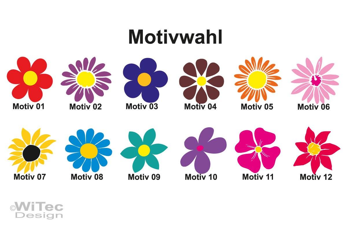 Roller Aufkleber Blumenaufkleber Sticker Tattoo Set