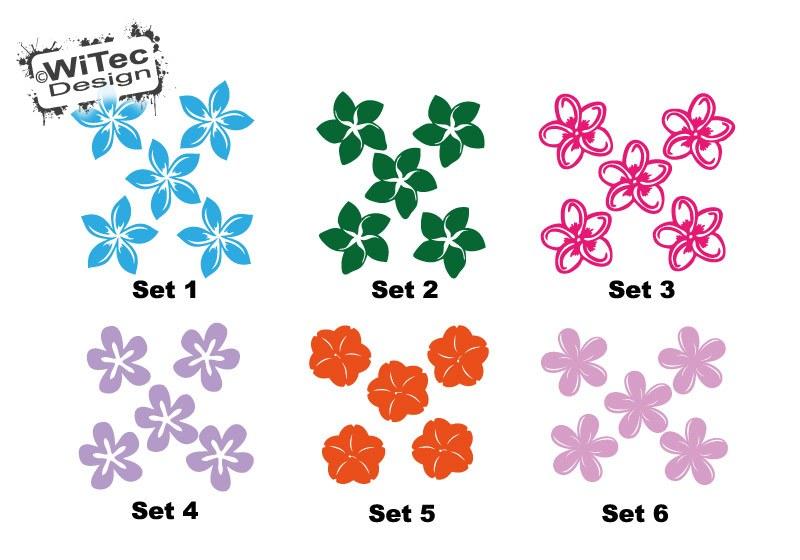 Hawaii Blüten Blumen Autoaufkleber SET