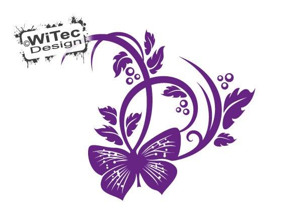 Autoaufkleber Blumenranke Schmetterling