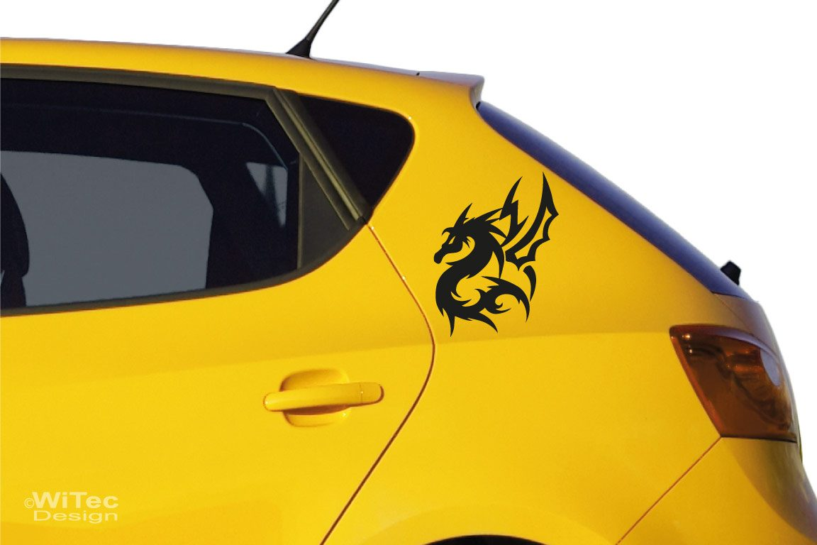 Auto Aufkleber Drache Dragon 2er Set Tribal Sticker