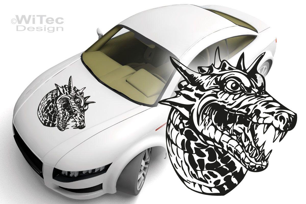 Autoaufkleber Drache Dragonhead Auto Aufkleber Motorhaube