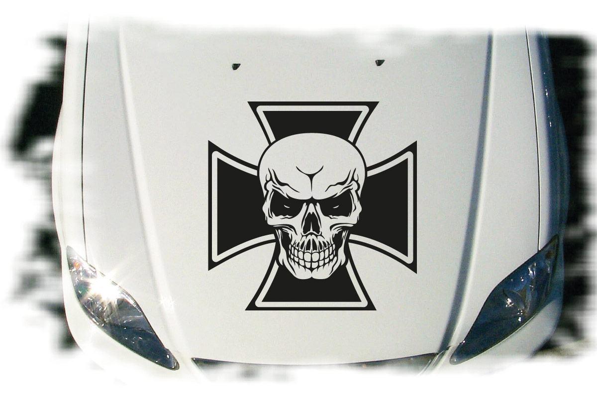 Eisernes Kreuz Auto Aufkleber Totenkopf Motorhaube