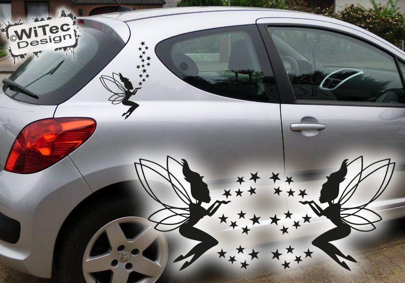 Autoaufkleber Elfe und Sterne 2er SET Auto Aufkleber Fee