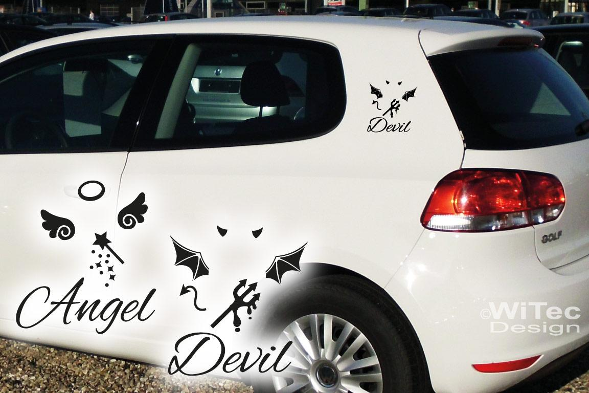 Auto Aufkleber Engel Teufel Angel Devil Sticker Set