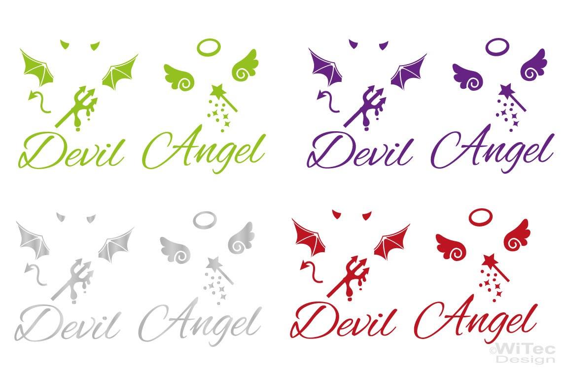 Engel Teufel  Auto Aufkleber Sticker Set
