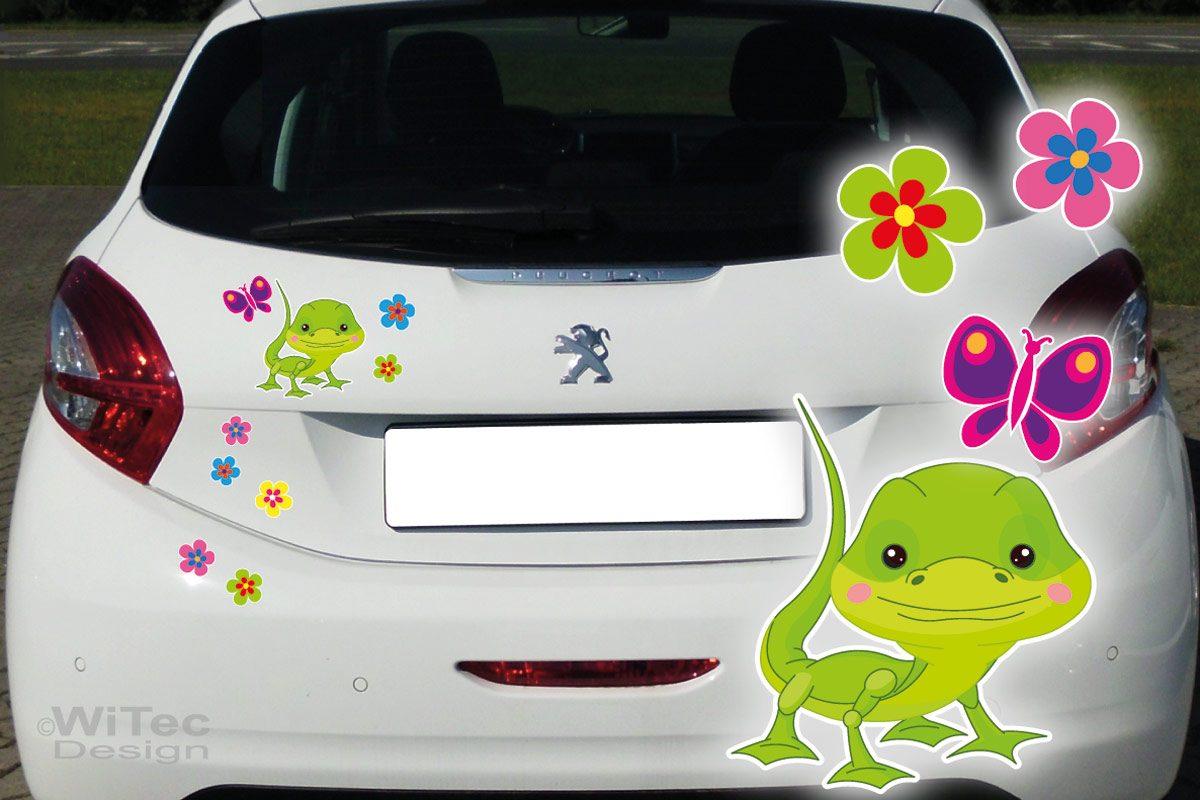 Auto Aufkleber Gecko Gekko Blumen Autoaufkleber Sticker