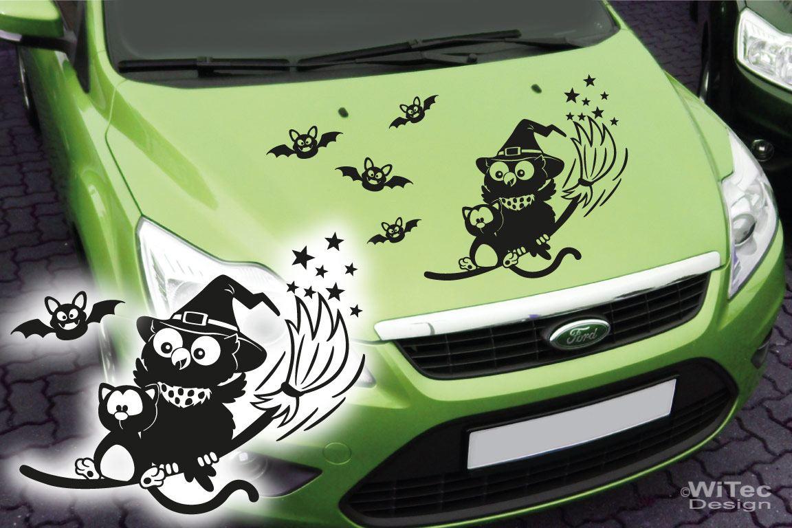 Autoaufkleber Hexe Eule Katze Set Motorhaube