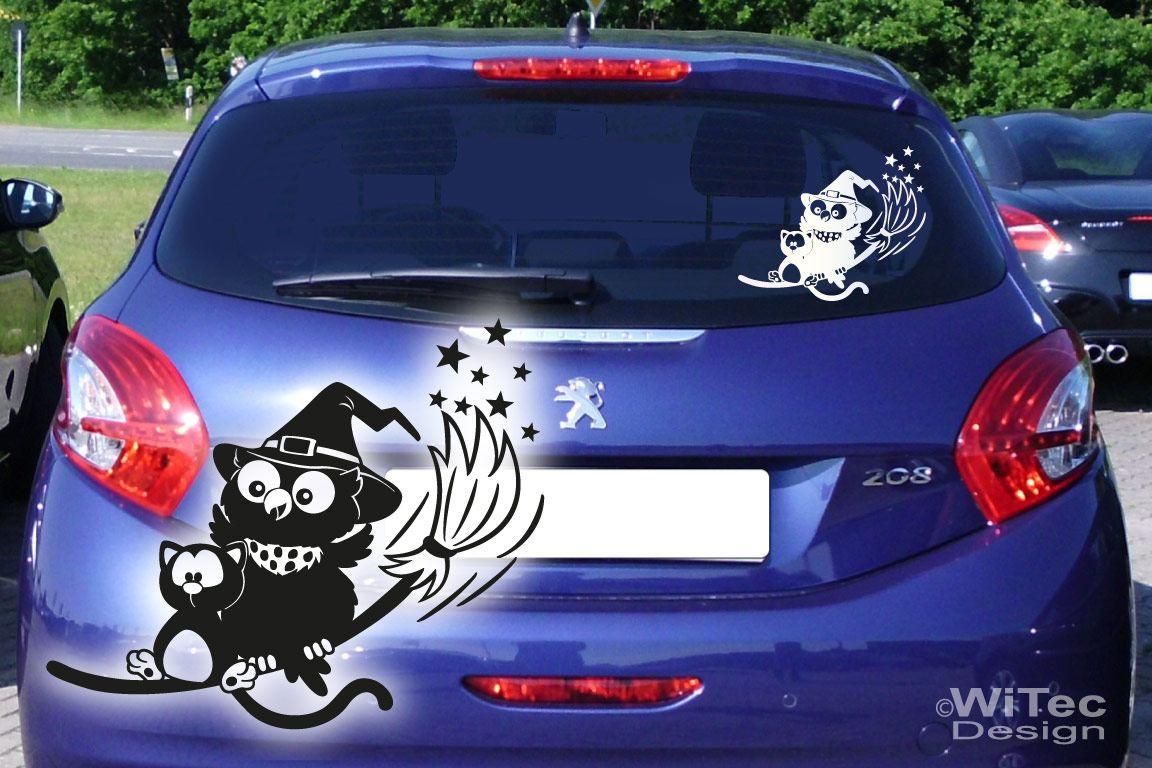 Hexe Eule Katze Autoaufkleber Auto Aufkleber