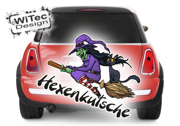 Hexe Autoaufkleber Katze Hexenkutsche