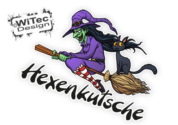 Autoaufkleber Hexe Katze Hexenkutsche