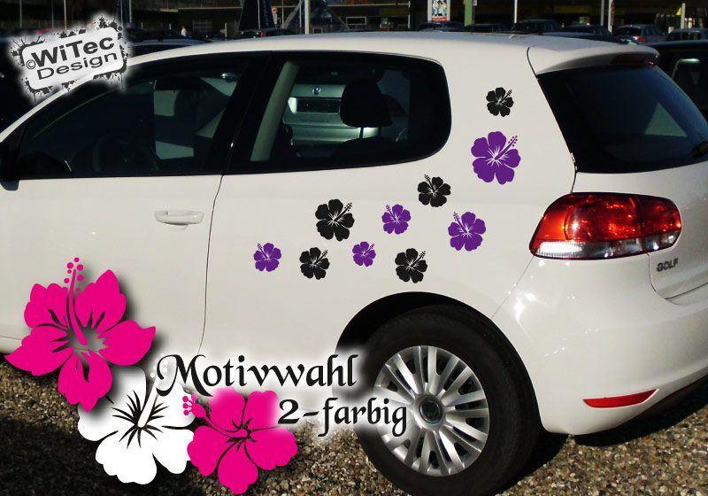 Autoaufkleber Hibiskus Blumenaufkleber Set 32 Stk 2-farbig