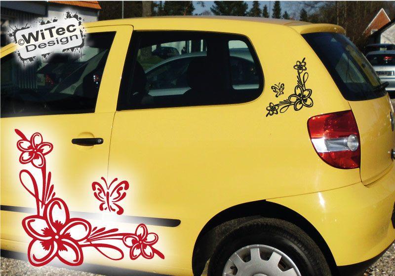 Autoaufkleber 2x Hibiskus Hawaiiranke + Schmetterling