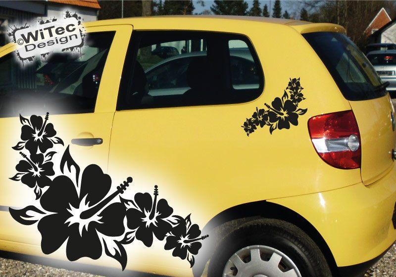Autoaufkleber 2x Hibiskus Blumen Aufkleber Auto Sticker
