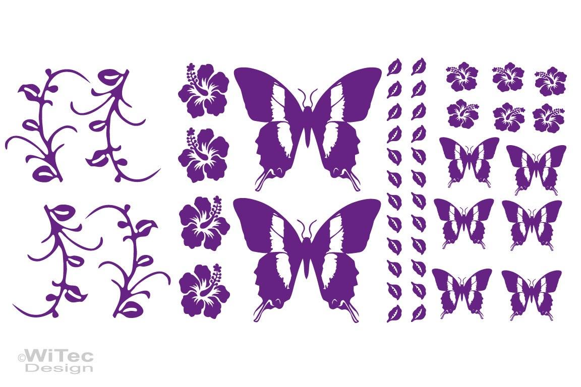 Autoaufkleber Hibiskus Blumen Ranken Schmetterling Set
