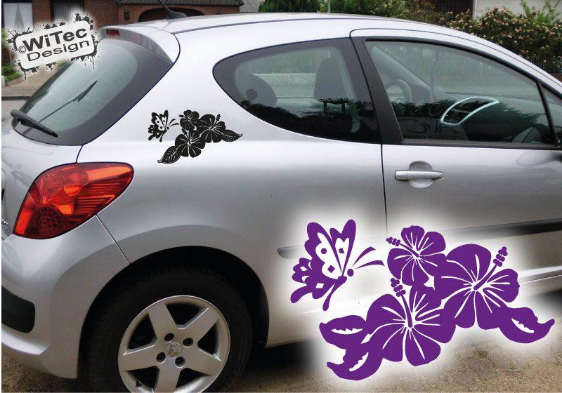 Autoaufkleber Hibiskus Auto Aufkleber Set Tattoo