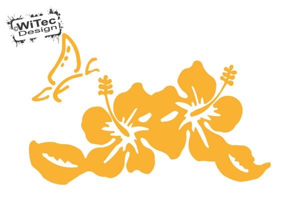 Autoaufkleber Hibiskus Hawaii Blumen Schmetterling