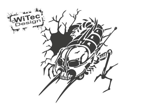 Autoaufkleber Hornisse Biene Skull