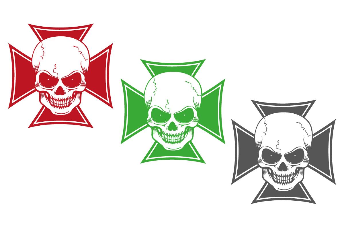 Auto Aufkleber Iron Cross Skull Autoaufkleber Motorhaube Tattoo