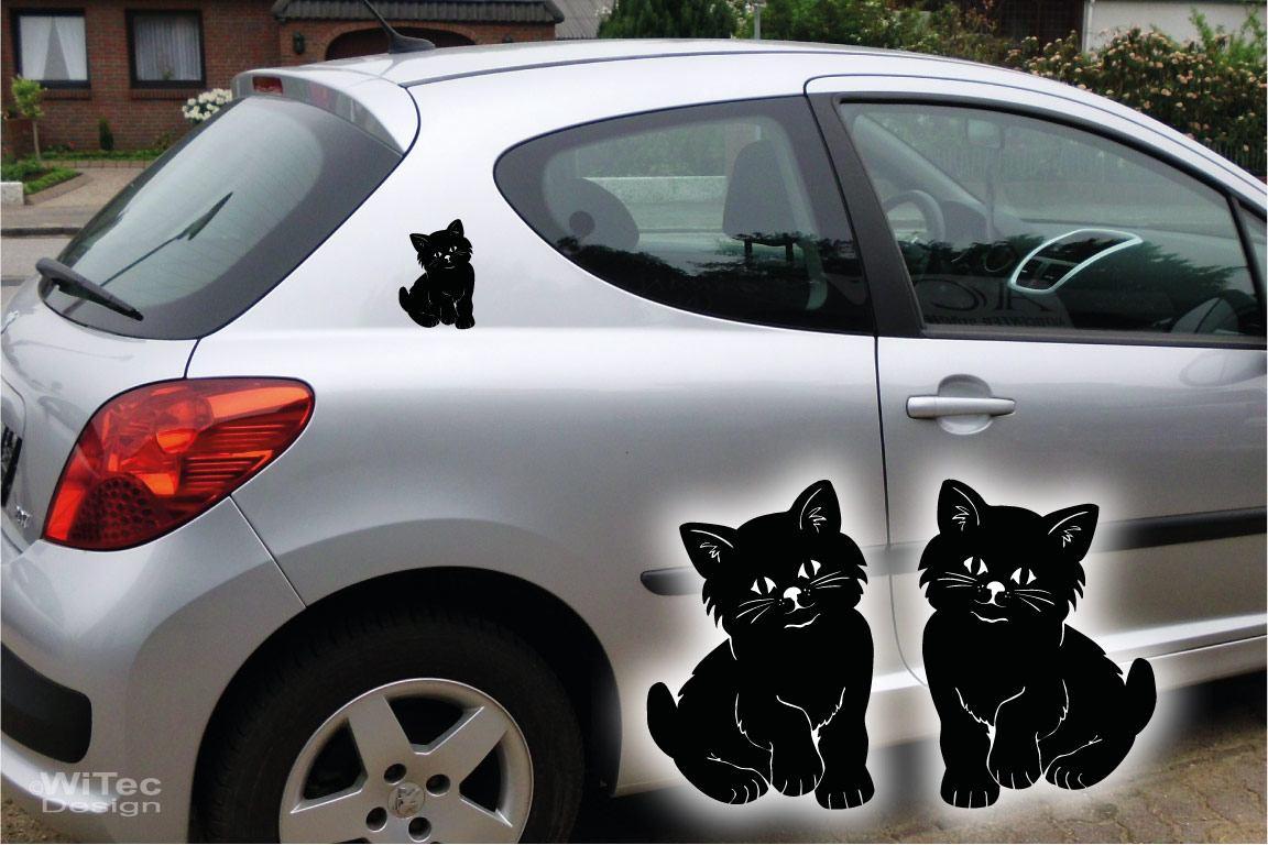 Autoaufkleber Katze Kätzchen 2er Set Aufkleber Sticker