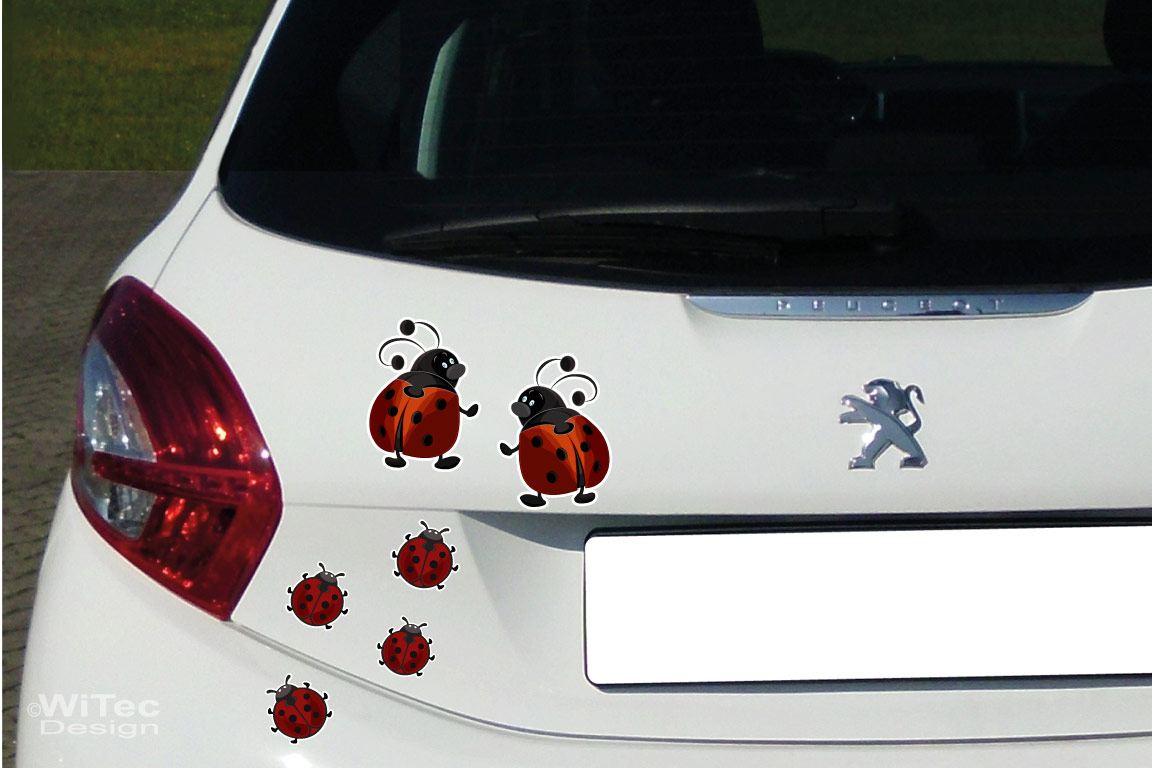 Auto Aufkleber Marienkäfer Käfer Autoaufkleber Sticker Set