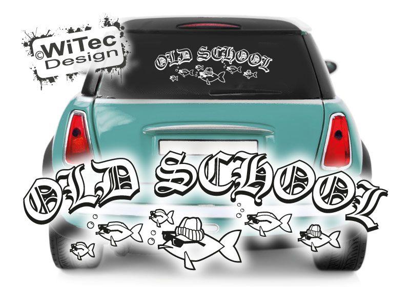 Autoaufkleber Old School Fisch Retro Auto Aufkleber