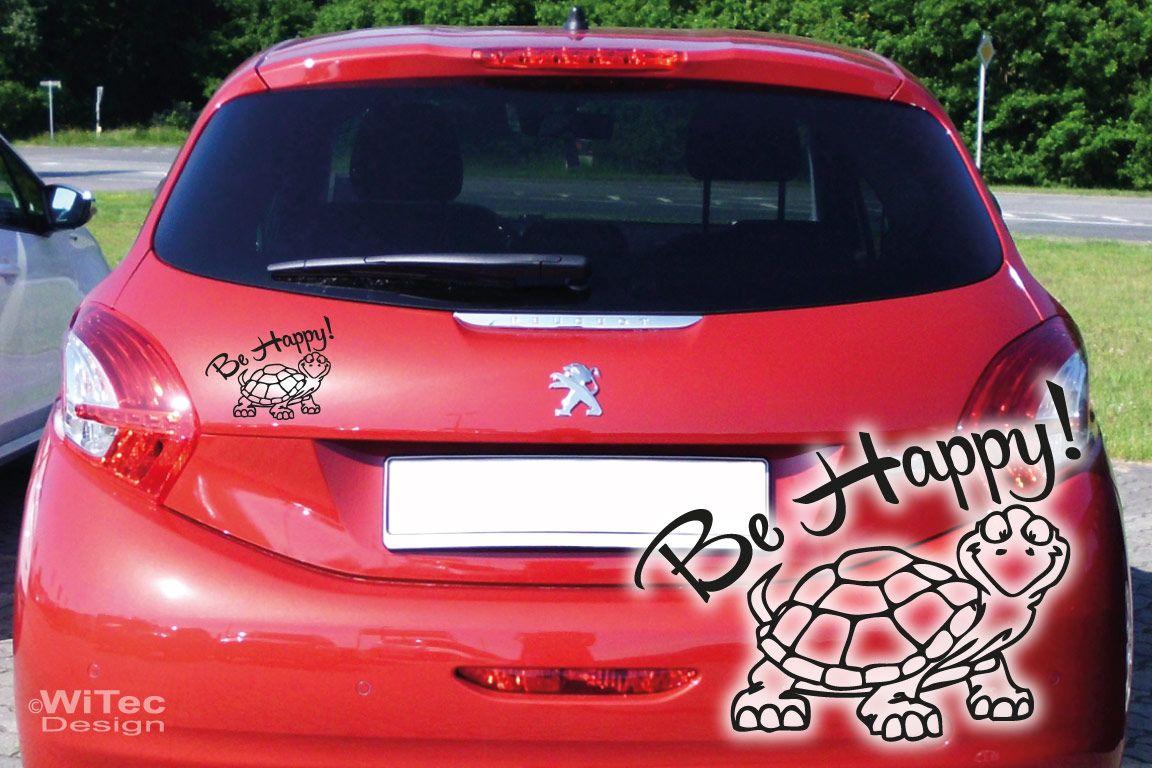 Auto Aufkleber Be Happy Schildkröte Turtle