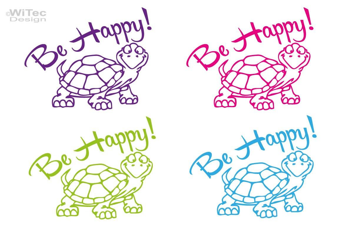 Autoaufkleber Turtle Schildkröte Be Happy Aufkleber