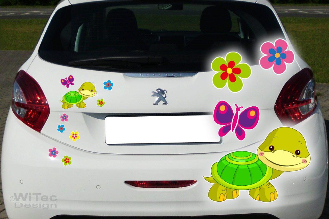 Auto Aufkleber Schildkröte Turtle Blumen Autoaufkleber Sticker