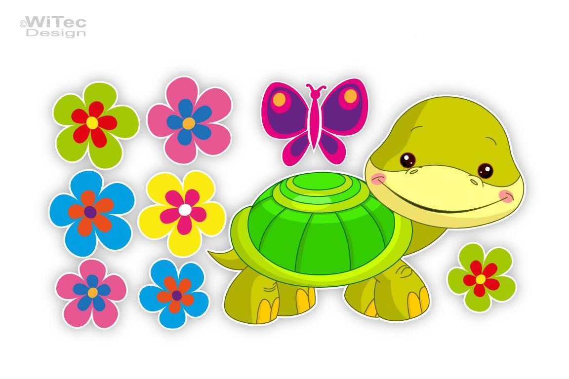 Schildkröte Blumen Auto Aufkleber Autoaufkleber Sticker