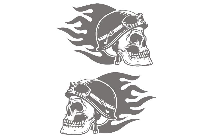 Autoaufkleber Helm Skull Motorradhelm Aufkleber Flames 2er