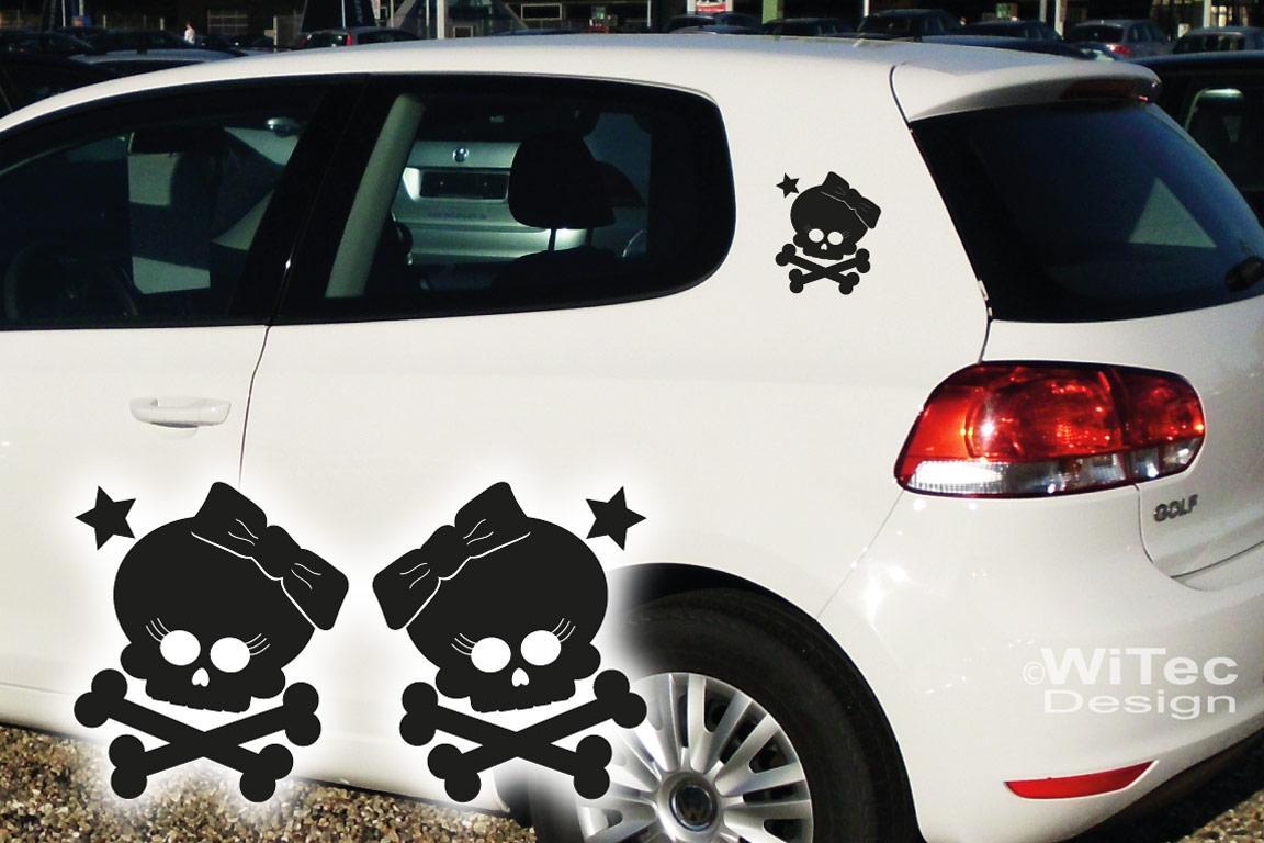 Auto Aufkleber Totenkopf Skull Girl Autoaufkleber