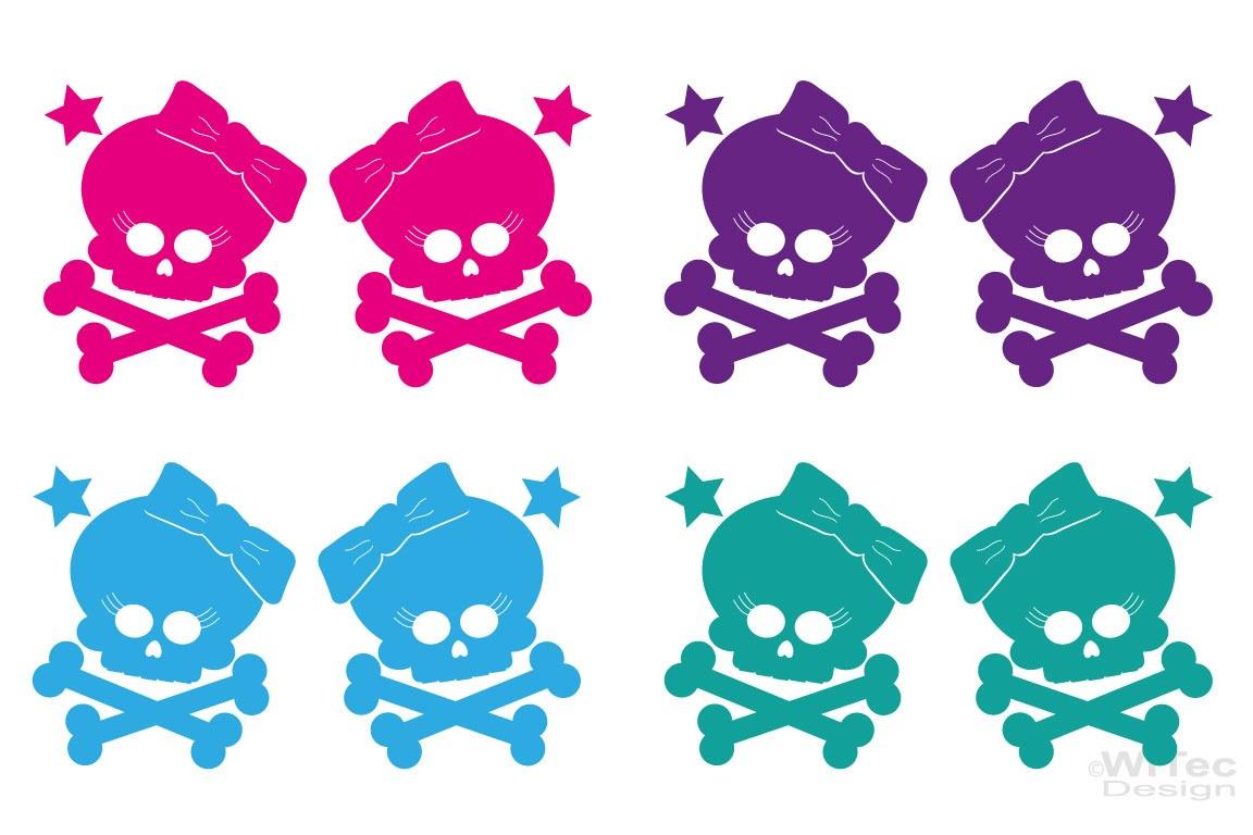 Autoaufkleber Totenkopf Skull Girl 2er Set