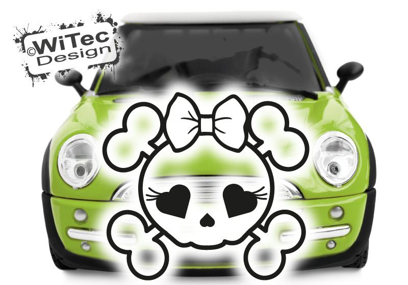 Autoaufkleber Motorhaube Skull Girl Totenkopf