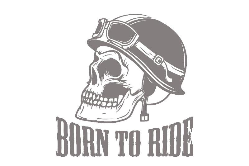Autoaufkleber Helm Skull Motorradhelm Aufkleber born to ride