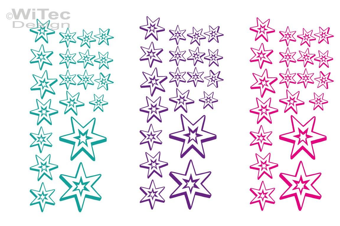 Auto Aufkleber Sterne Set 3D Style Autoaufkleber