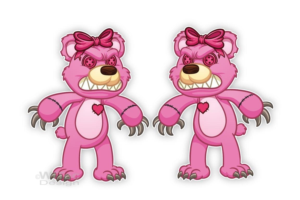 Evil Teddy Bär Autoaufkleber Herz 2er Aufkleber Auto Sticker