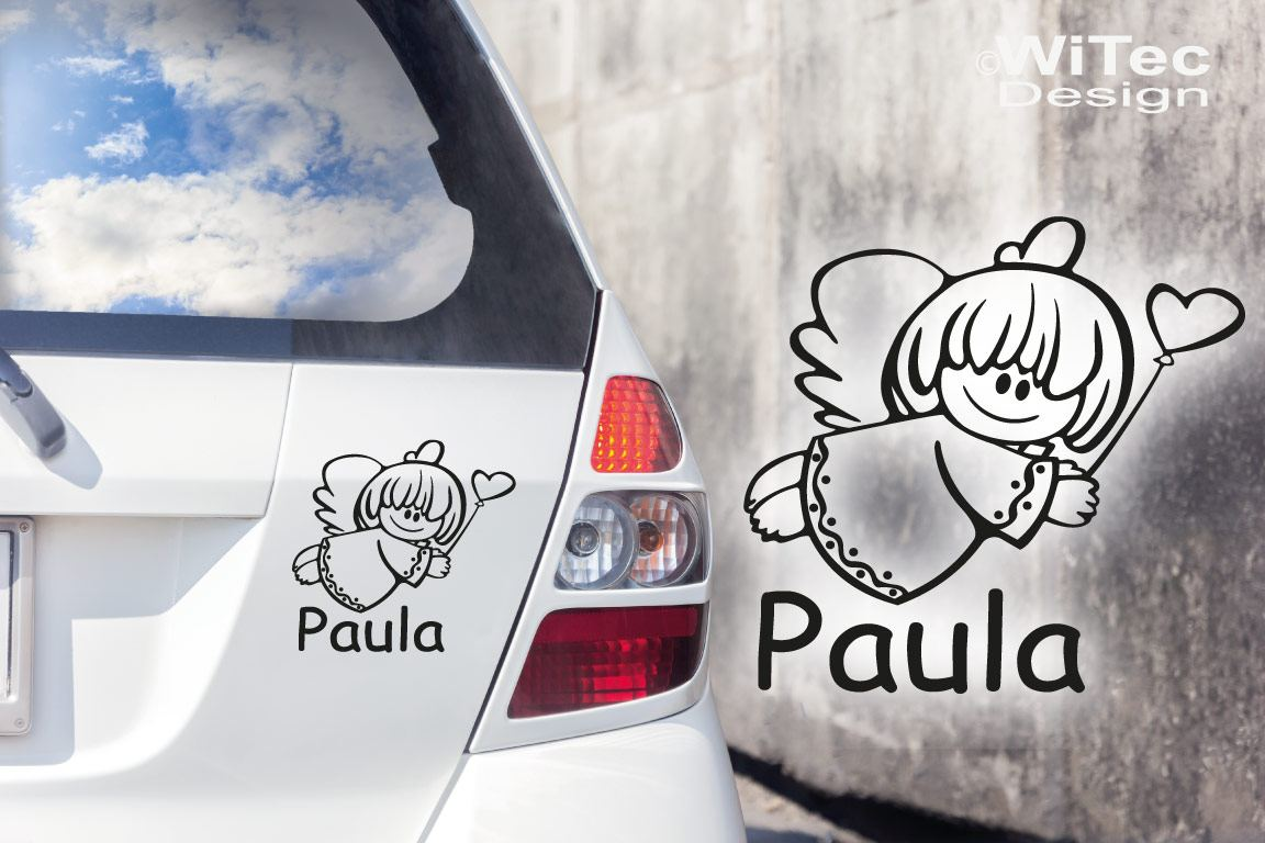 Babyaufkleber Engel Mädchen Wunschname Auto Aufkleber Tattoo