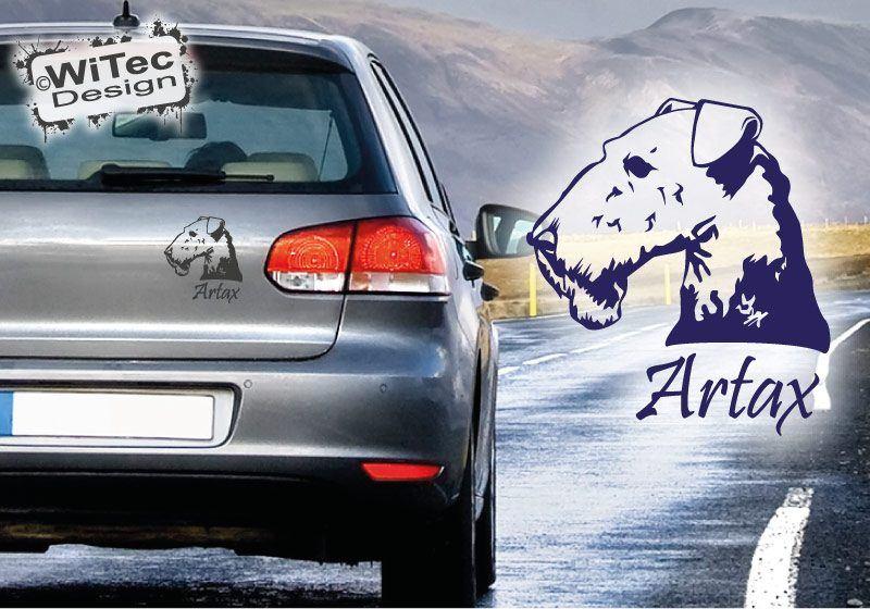 Hundeaufkleber Airedale Terrier mit Namen Aufkleber Autoaufkleber