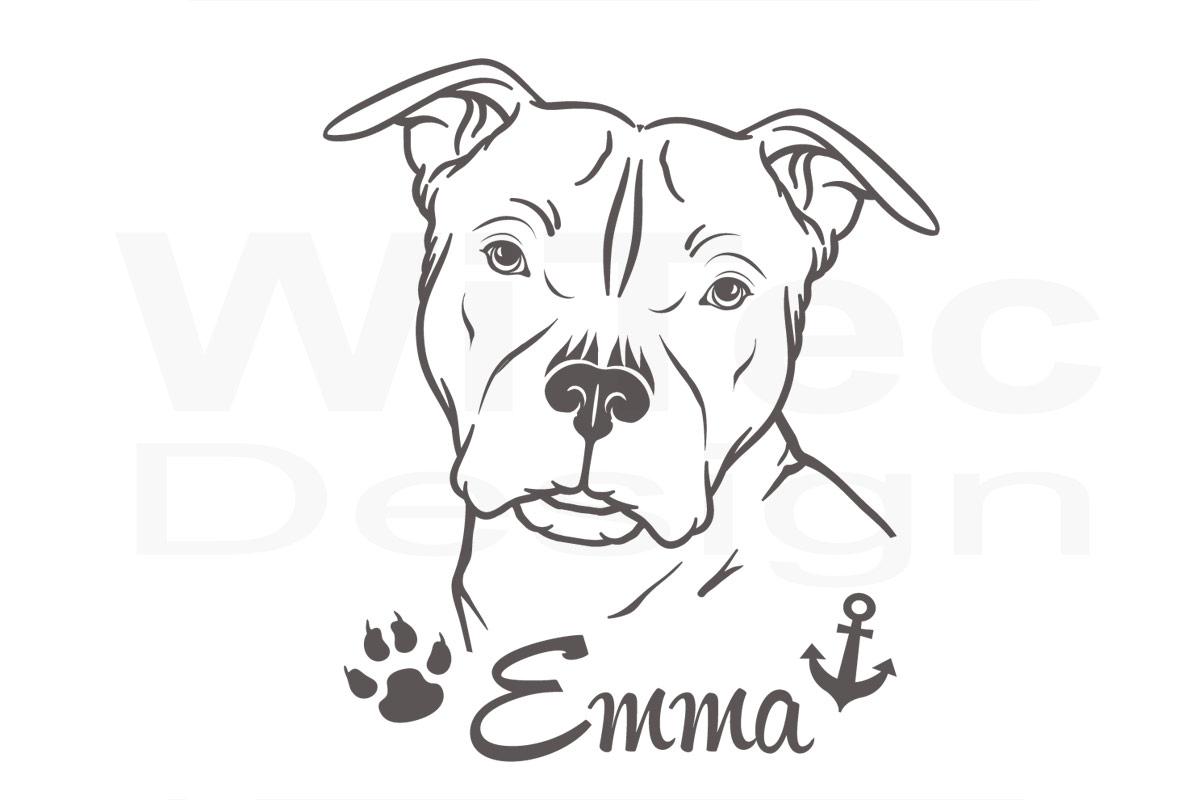 Hundeaufkleber American Staffordshire Terrier  Autoaufkleber Pfoten Aufkleber
