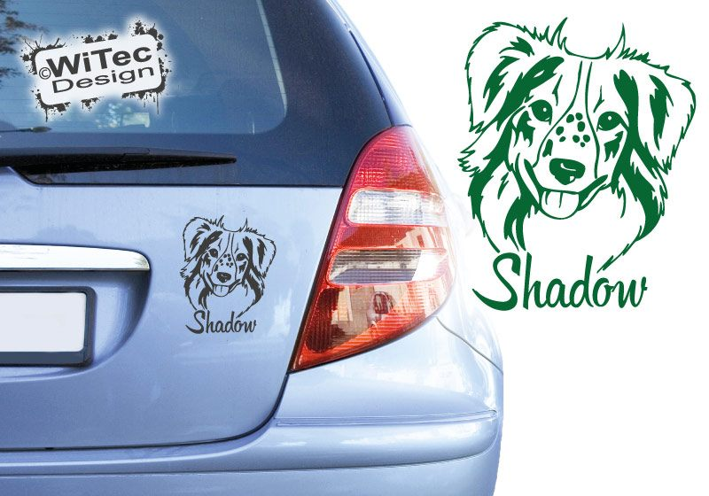 Australian Shepherd Mini Wunschname Autoaufkleber Hundeaufkleber