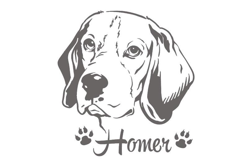 Hundeaufkleber Beagle Aufkleber Hund Wunschname