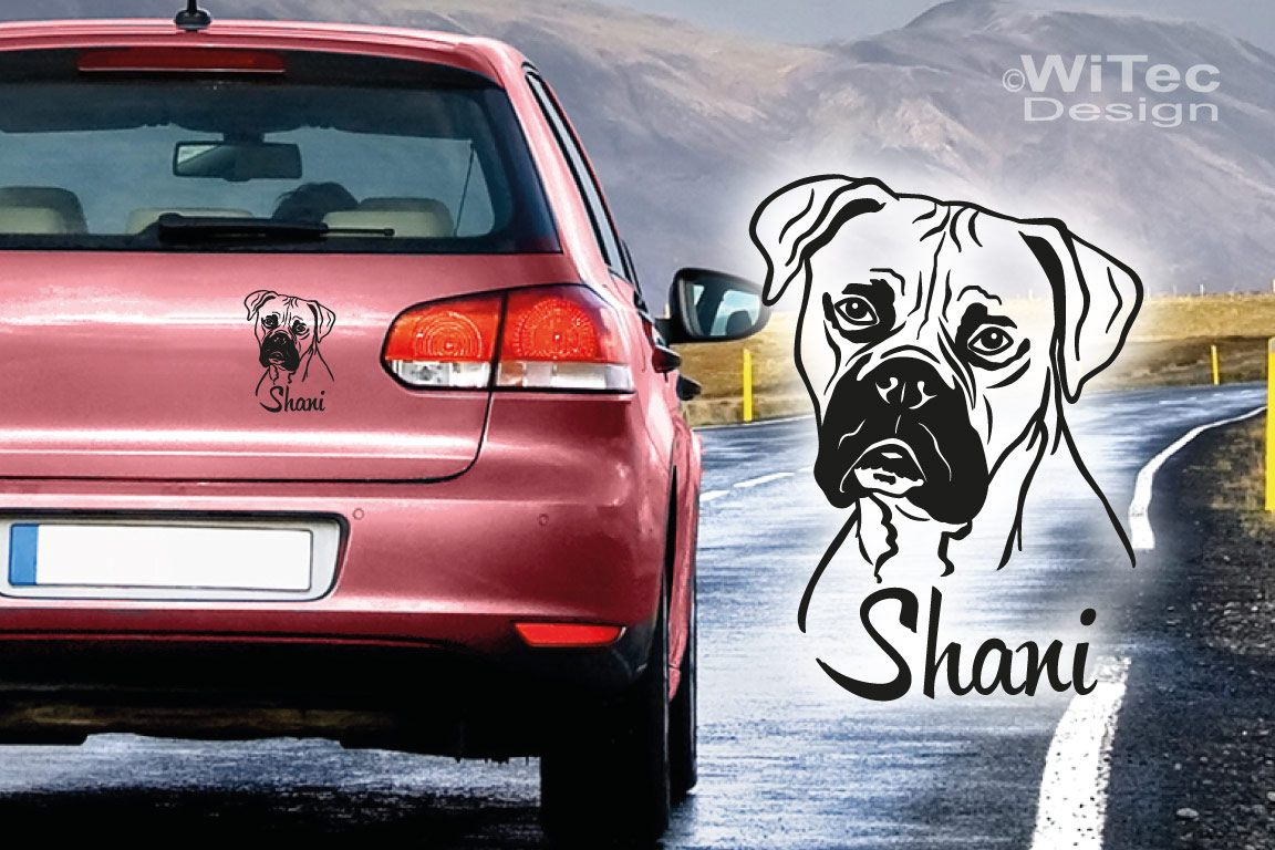 Hundeaufkleber Boxer Name Autoaufkleber