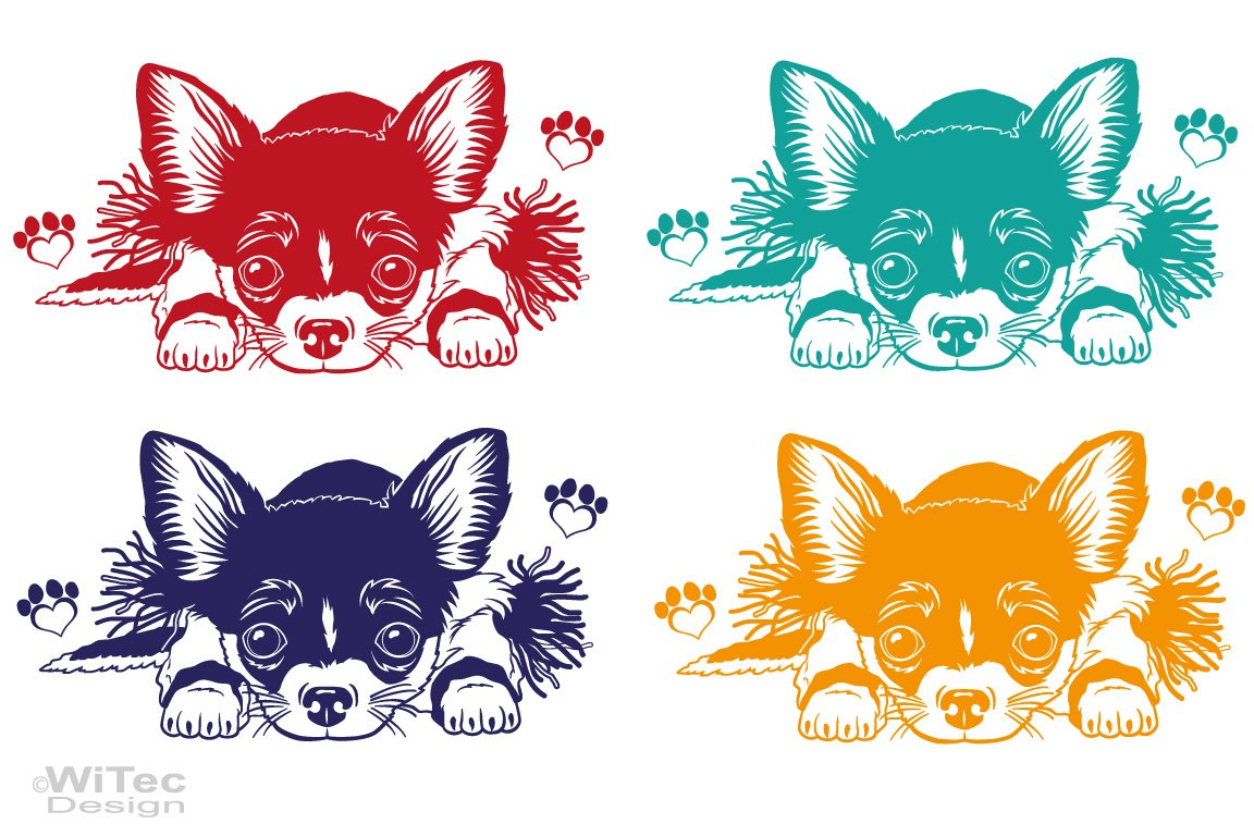 Hundeaufkleber Chihuahua Pfoten Autoaufkleber