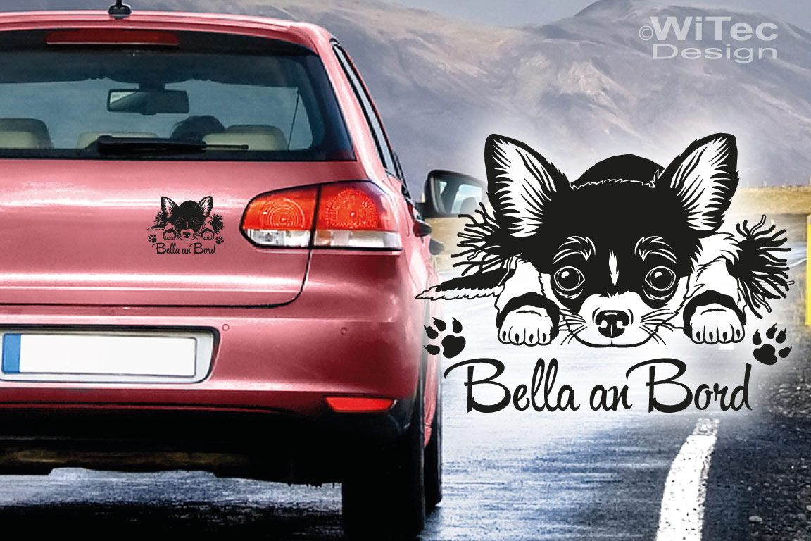 Autoaufkleber Chihuahua an Bord Hundeaufkleber Name