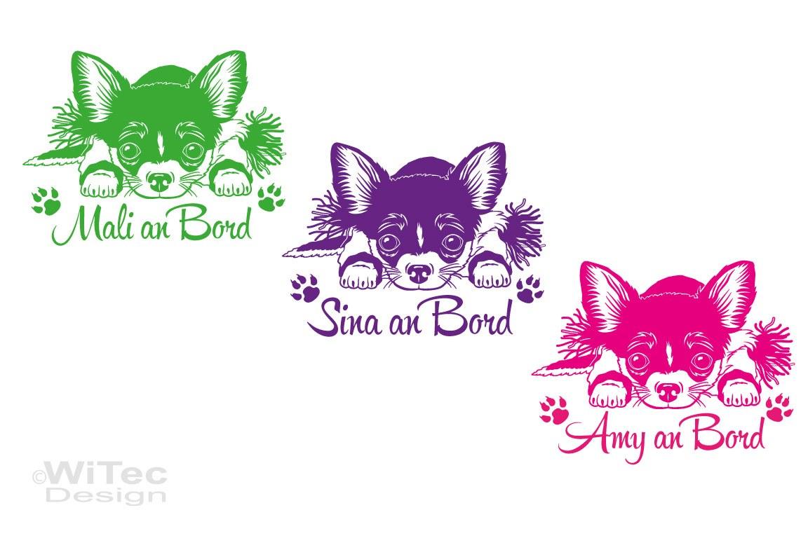 Chihuahua an Bord Hundeaufkleber Name Autoaufkleber