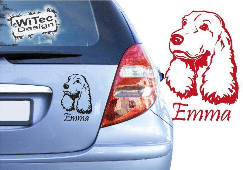 Hundeaufkleber English Cocker Spaniel mit Namen Autoaufkleber