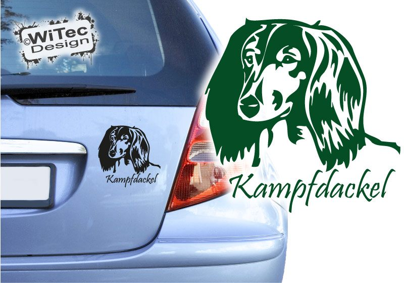Dackel Langhaar + Name Aufkleber Autoaufkleber Hunde