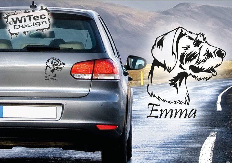 Autoaufkleber Deutsch Drahthaar Wunschname Hundeaufkleber